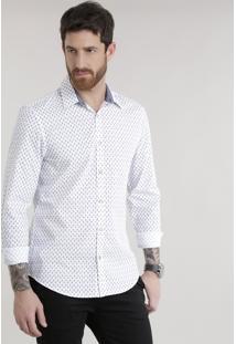 Camisa Slim Estampada Em Algodão + Sustentável Branca