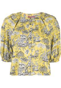 Staud Blusa Cropped Com Estampa - Amarelo