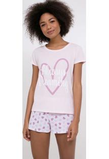 Pijama Manga Curta Com Corações Estampado