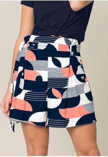 Shorts Clochard Tecido Estampado Azul
