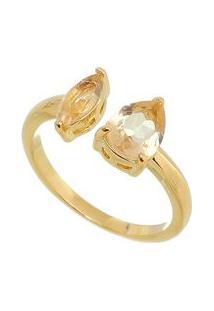 Anel Folheado A Ouro Com Zircônia - Dourado & Marrom Clacarolina Alcaide