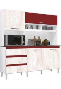 Cozinha Compacta Florença Branco/Aspen/Vermelho 4 Portas - Incorplac