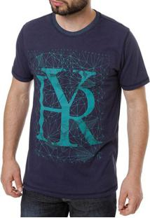 Camiseta Manga Curta Reversível Masculina Azul Marinho