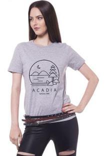 Camiseta Joss Estampada Acadia Feminina - Feminino-Mescla