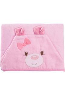 Toalha De Banho Incomfral Para Bebê Baby Joy Com Capuz Ursa Rosa