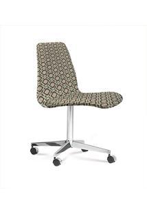Cadeira Eames Base Cromada Com Rodizio Daf Cinza/Bege
