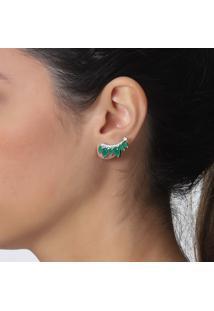 Brinco Rosa Pinhal Zircônias E Cristais Gotas Verde Esmeralda
