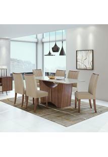 Conjunto De Mesa De Jantar Rock Com 6 Cadeiras Apogeu L Veludo Off White E Creme