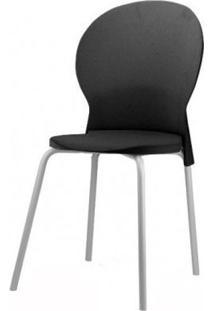 Cadeira Luna Assento Preto Base Cinza - 53823 Sun House