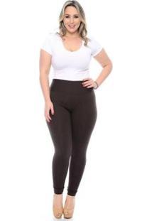 Çalça Legging Plus Size Feminina - Feminino-Marrom