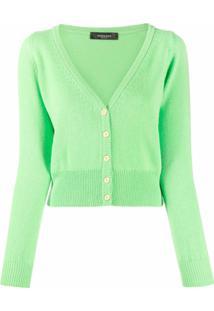 Versace Cardigan Gola V De Cashmere - Verde