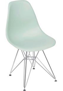 Cadeira Com Base Em Madeira Preta Eames 1102-Or Design - Verde Claro