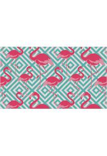 Capacho Para Cozinha Tropical Flamingo Azul 43X65Cm