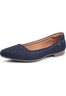 Sapatilha Em Tecido Jeans Bico Fino Feminina Confort - Kanui