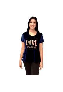 Camiseta Energia Com Estampa Azul Marinho