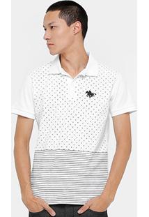 Camisa Polo Rg 518 Piquet Poá Listras Masculina - Masculino