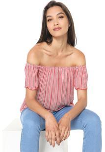 Blusa Cativa Ombro A Ombro Branca/Vermelha