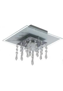 Plafon De Vidro Com Cristal Para 01 Lâmpada - Aceita Lâmpada De Led - Branco