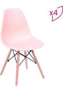 Jogo De Cadeiras Eames Dkr- Salmã£O & Bege- 4Pã§S-Or Design