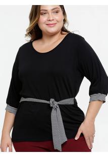 Blusa Feminina Tiras Amarração Listrada Plus Size
