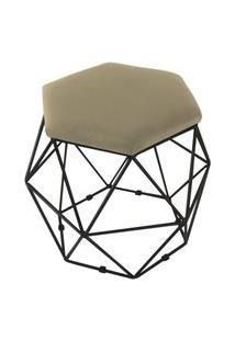 Puff Aramado Preto Assento Hexagonal Suede Nude - Ds Móveis