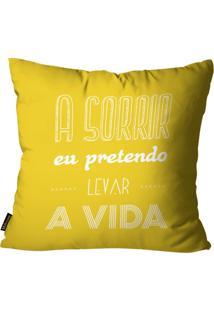 Capa Para Almofada Premium Cetim Mdecore Frase Amarela 45X45Cm