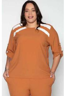 Blusa Plus Size Creponada Liso Caramelo Amarelo