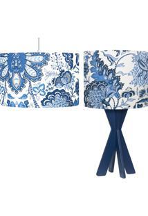 Conjunto Pendente E Abajur Nara Decoração Cúpula Em Tecido Estampado Flores Azuis - Carambola