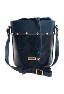 Bolsa Feminina Couro Fino Transversal Pequena Redonda Com Brilhante Azul