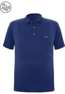 Polo Plus Size Meia Malha Azul Com Bolso