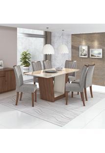 Conjunto De Mesa De Jantar Com 6 Cadeiras Apogeu L Linho Off White E Cinza