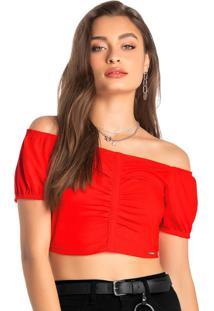 Blusa Vermelha Cropped Em Cotton