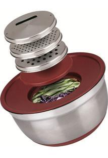 Conjunto German Bowl Inox 8289 Com Ralador 3Em1 Euro Home Vermelho