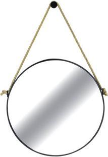 Espelho Redondo Hanoi Prata Moldura Preta 75 Cm - 59987 - Sun House