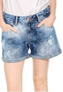 Bermuda Jeans Lez A Lez Estonada Azul