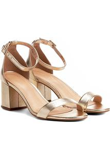 Sandália Couro Shoestock Salto Grosso Metalizada Feminina - Feminino-Dourado