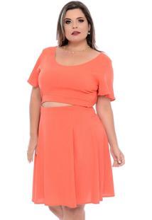 Vestido Laranja Colare Plus Size