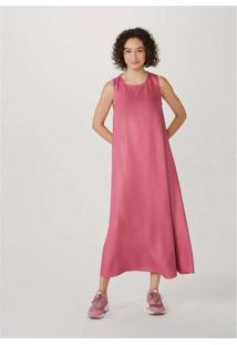 Vestido Midi Sem Manga Evasê Em Tecido Rosa