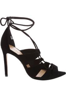 Sandália Bico Folha Lace-Up Black   Schutz