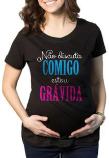 Camiseta Criativa Urbana Grávida Gestantes Frases Engraçadas - Feminino-Preto