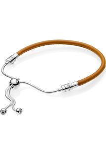 Bracelete Pandora Cordão De Couro Dourado - 17,5 Cm