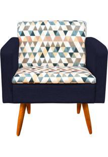 Poltrona Decorativa Emília Composê Estampado Triangulo D87 Com Linho A46 - D'Rossi Azul Marinho