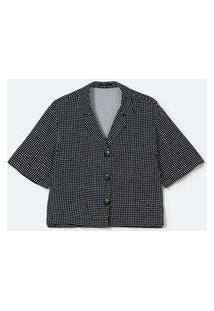 Camisa Ampla Em Viscose Com Estampa Quadriculada | Cortelle | Preto | M