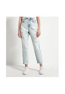 Calça Mom Jeans Lisa Com Detalhes Vazados Na Cintura | Blue Steel | Azul | 40