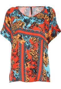 Blusa Cativa Plus Floral Vermelha/Azul