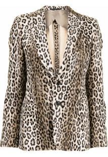 R13 Blazer Com Estampa De Leopardo - Marrom
