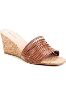 Mule Shoestock Anabela Tiras - Feminino-Caramelo