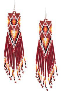 Jessie Western Beaded Long Earrings - Vermelho