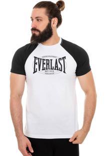 Camiseta Everlast Manga Raglã Logo Heritage Branco