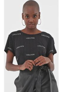Camiseta Lança Perfume Aplicações Preta - Kanui